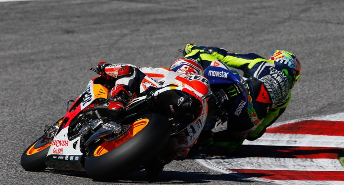 Marquez had been gaining ground rapidly before the crash, but with the current champ in the weeds, Rossi's job got a lot easier.