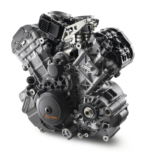 The BMW has a parallel twin, the Triumph has an inline triple, and the KTM has a hot-rodded V-twin, seen here.