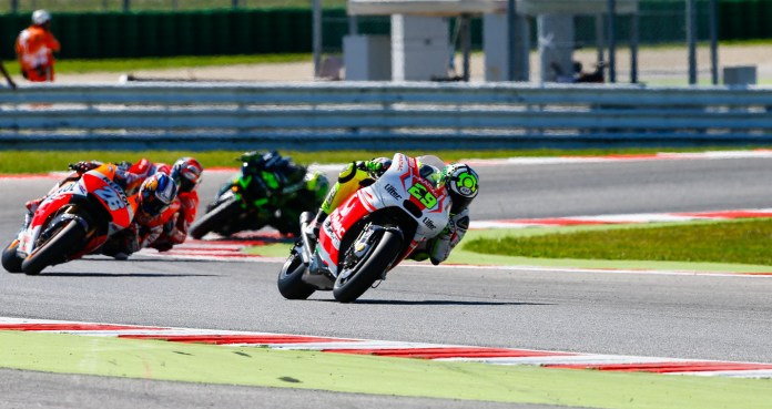 Andrea Iannone had an impressive showing in qualifying, but dropped to fifth from second during the race.