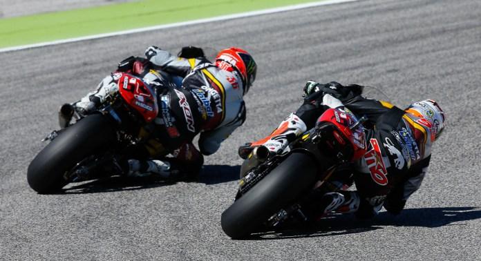 Tito Rabat beat out teammate Mika Kallio for the Moto2 win.