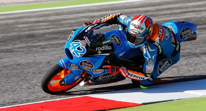 In another scrap between teammates, Alex Rins won Moto3 over Alex Marquez.