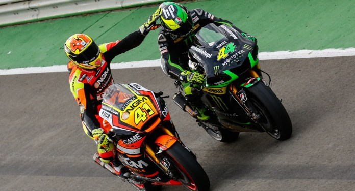 The Espargaro brothers celebrate after their neck-and-neck race.
