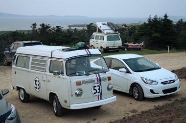 What is this, the 1960s? Not quite, as you can tell by the car on the left, but the Magdalen Islands have more VW buses per square mile than anywhere else in Canada; the windsurfers seem to use it as their vehicle of choice.