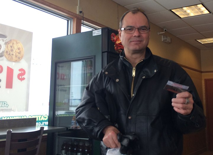 When we stopped at a Subway in Hanna, Alberta for a cheap bite to eat, another customer there called Alfred, asked us a few question about the trip before giving us $20 to pay for our lunch!