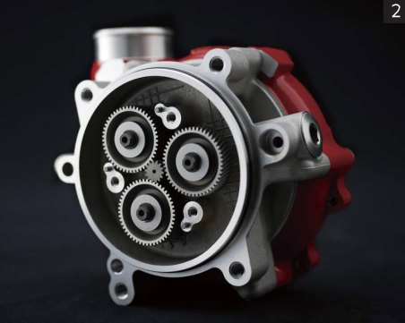Planetary gears help to crank up the impeller speed