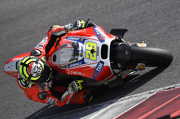 Andrea Iannone leans in