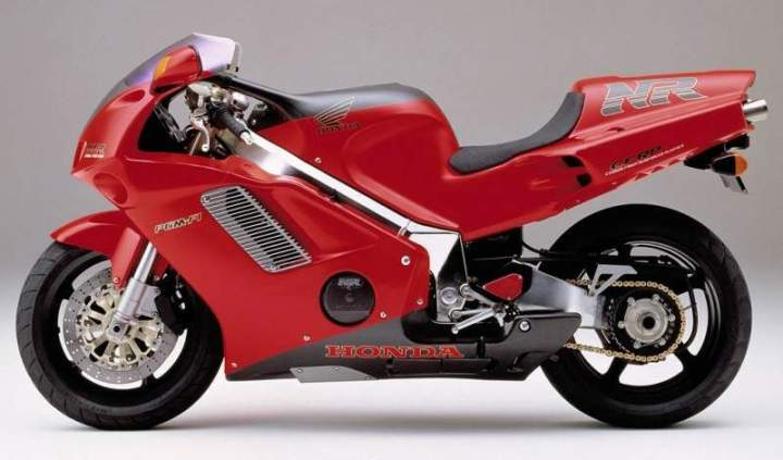 Carbon fiber, forced air induction, oval piston V-4, underseat exhausts and a single sided swingarm... in 1992.
