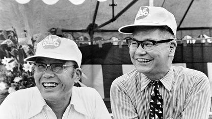 Soichiro Honda and Takeo Fujisawa, respectively the heart and the head of Honda