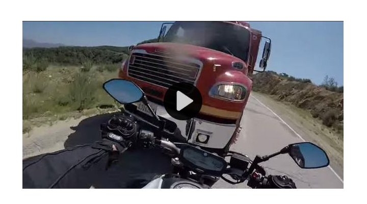 Motorcycle vs. fire truck: Video