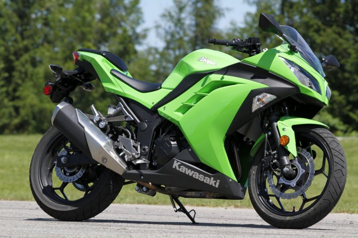 The Ninja 300, in classic Kawi green. The classic entry-level sportbike received a significant update recently, including bigger motor and slipper clutch.