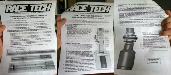 There are pages and pages of instructions for installing the Race Tech bits. They don't recommend inexperienced users try it.