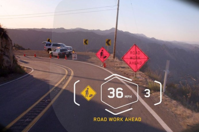 This is the proposed HUD for BMW's smart helmet design it's been working on.