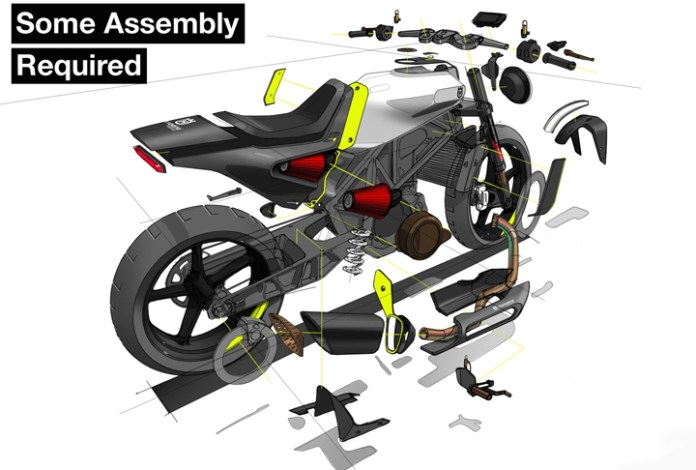 This exploded-view design rendering of the Husqvarna Vitpilen was created by designers, because they are responsible for not only the body styling, but ergonomics, assembly, and other human factors.
