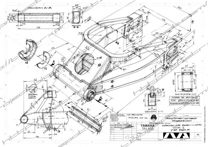 A wonderful hand made assembly sketch that clearly describes this Yamaha TRX swing arm. Image : TheTRXProject.blogspot