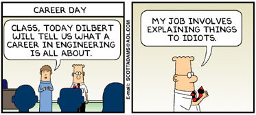 Happily, engineers inside the motorcycle industry are not all like this. Image : copyright Scott Adams