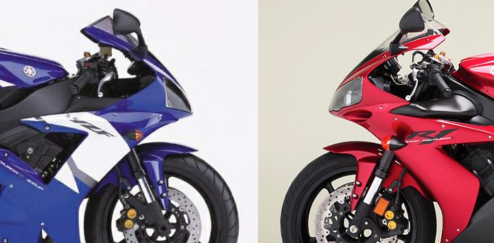 "2002 Yamaha R1 : ""Dude, are you wearing my fender?"" 2004 R1 : ""No way bro. Totally my own fender"""