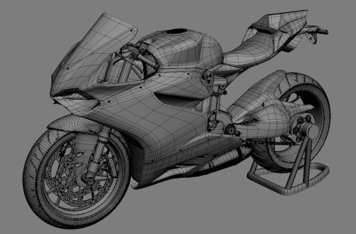 Ducati Panigale rendered in 3D CAD software, possibly from a scanned physical model. They're getting good at this virtual reality thing.