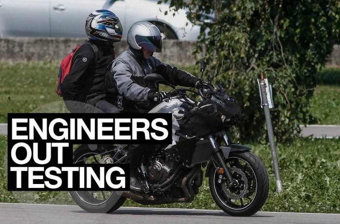 Spy shots of the Yamaha MT-07 test mule. Engineers and technicians don't do this for fun, somewhere under all that duct tape is a new part, or a reconfigured part, or its missing a part, and they need to know what happens next.