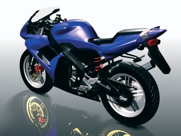 Actual screen capture of the Yamaha TZR 50 Alias CAD model. Computer modelling has come a long way since this was made in 2001, but it is still just a substitute for reality.