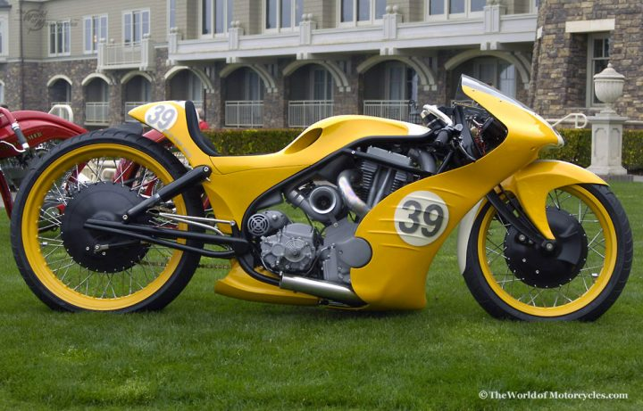 Canada's own Roger Goldammer is famous for his ground up chopper builds that blend retro board track and sport bike styling. Every detail is bespoke, every curve considered.