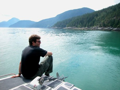 Taking in the view in BC during a 2002 tour.