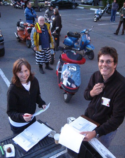 Rob and Courtney coordinating the insanity of the 2007 Mad Bastard Scooter Rally.