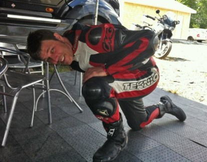 Stretching out his knee before taking to track in Shubenacadie.