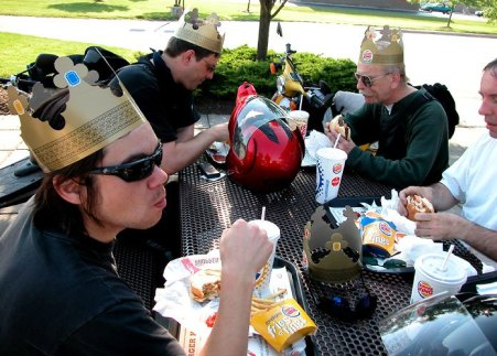 Of course, sometimes the touring budget wasn't that swanky, as proven by this Burger King stop on the Original Mad Bastard run.