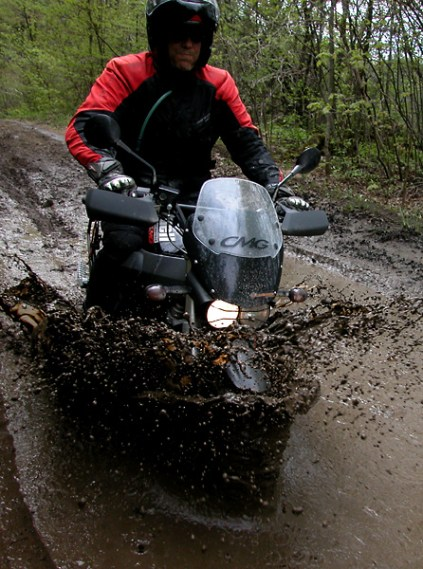 """A Buell suffers the ultimate off-road test: """"Trial by 'Arris."""""""
