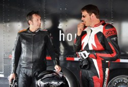 Rob consults with Alex Crookes, just before beating him in the CBR250 Challenge at Shubenacadie.
