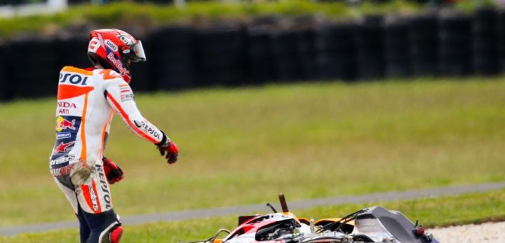Marc Marquez earned his first DNF of the season.