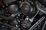 The oil-cooled 107 ci version of the Milwaukee Eight now has a dual counterbalancer, to reduce vibes in the solid-mount Softail chassis. It is a noticeable improvement.