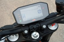 Along with adjustable front forks, KTM has a TFT dash you can adjust with your smartphone's Bluetooth connection. Luxury!