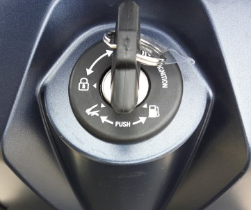 The keyswitch controls not only the ignition, but also remotely unlocks the fuel cap and the seat.
