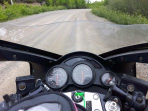 Sigh. Gravel roads and sport bikes don't mix, but thankfully the well-graded track didn't tax the RF900R too much.