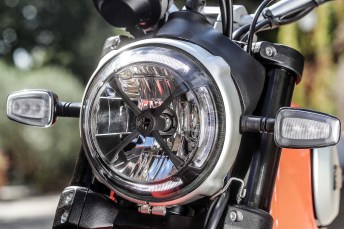 The cafe racer-influenced LED headlight is an interesting touch.