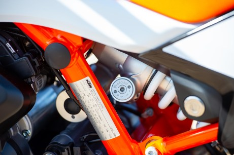 The KTM 790 Adventure R has a fully adjustable rear shock, with easier access than the standard model.
