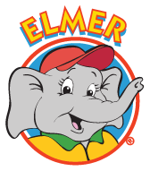 elmer the safety elephant with a blue circle background and the word ELMER