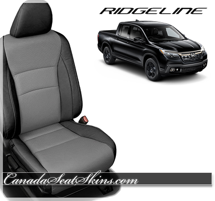 2017 Honda Ridgeline Black and Ash Leather Seats from The Canada Seat Skins Company.