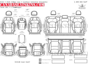 2019 - 2020 Ram Crew Cab Katzkin Leather Interior Schematic - 6 Passenger - Solid Rear Seat
