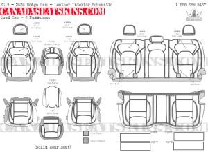 2019 - 2020 Ram Quad Cab Katzkin Leather Interior Schematic - 6 Passenger - Solid Rear Seat
