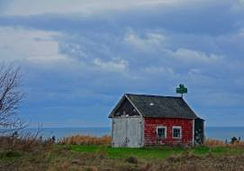 Small Barn with Birdhouse, Near Phinney's Cove, N.S.