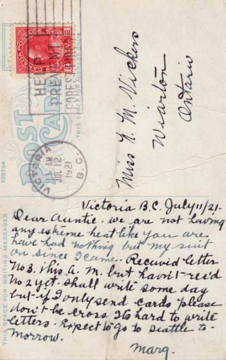 "Reverse of the Victoria Gorge card in this group. Postmarked 1921. Like the line: "" . . . if I only send cards please don't be cross. It's hard to write letters."" Only a name and a town were needed for an address."