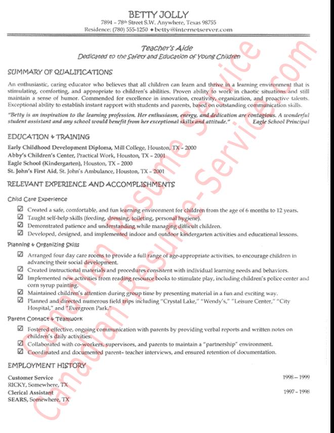 Functional Teachers Aide Resume Example Sample