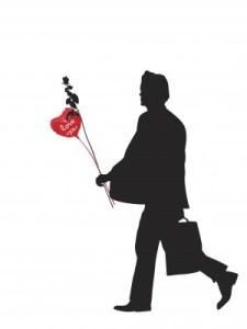 man with valentine's day balloon