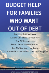BUDGET HELP FOR FAMILIES WHO WANT OUT OF DEBT