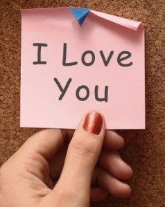 I love you pink post-it note