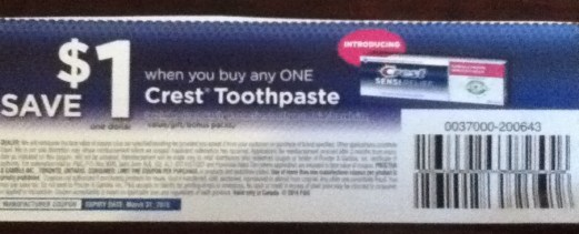 Crest toothpaste coupon Canada