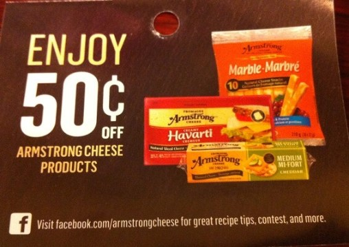Armstrong cheese coupon Canada Save 50 cents