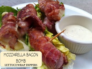 Mozzarella Bacon Bomb Lettuce Wrap Dippers (Low Carb)